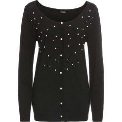 Sweter rozpinany z perełkami bonprix czarny. Kardigany damskie marki bonprix. Za 49.99 zł.