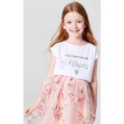 Dziewczęca koszulka z błyszczącą aplikacją little princess - Biały. T-shirty damskie marki bonprix. W wyprzedaży za 19.99 zł.