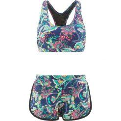 Bikini z biustonoszem bustier (2 części) bonprix niebiesko-turkusowo-jasnoróżowy. Bikini damskie marki DOMYOS. Za 109.99 zł.