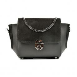 Skórzana torebka w kolorze szaro-czarnym - (S)31 x (W)22 x (G)10 cm. Czarne torby na ramię damskie Akcesoria na sylwestrową noc. W wyprzedaży za 219.95 zł.