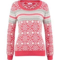 Sweter bonprix lekki koralowy - wzorzysty. Swetry damskie marki bonprix. Za 74.99 zł.