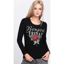 Czarna Bluzka Change It. Czarne bluzki damskie Born2be, z aplikacjami, z okrągłym kołnierzem, z długim rękawem. Za 24.99 zł.