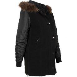 Krótki płaszcz ciążowy z materiału w optyce wełny, ocieplany bonprix czarny. Czarne płaszcze damskie bonprix, z wełny, klasyczne. Za 269.99 zł.