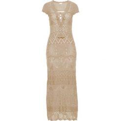 Sukienka dzianinowa bonprix naturalny. Brązowe sukienki damskie bonprix, na lato, w ażurowe wzory, z dzianiny. Za 179.99 zł.