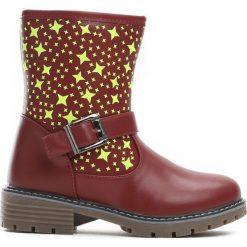 Bordowe Botki Winter Stars. Czerwone botki dziewczęce Born2be, z materiału. Za 49.99 zł.