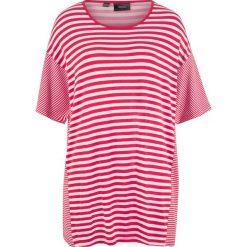 T-shirt z opuszczanymi ramionami bonprix czerwono-biel wełny w paski. T-shirty damskie marki DOMYOS. Za 69.99 zł.