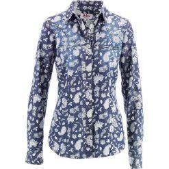 Koszula dżinsowa bonprix niebiesko-biały z nadrukiem. Koszule damskie marki SOLOGNAC. Za 89.99 zł.