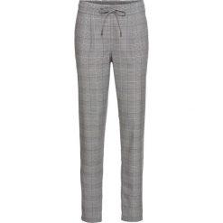 Spodnie z paskiem z boku nogawki bonprix czarno-biały w kratę z czarnym paskiem. Spodnie materiałowe damskie marki MAKE ME BIO. Za 109.99 zł.