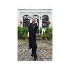 Czarny sweter damski, długi elegancki sweter kardigan, czarny asymetryczny sweter. Czarne kardigany damskie Ekoszale. Za 189.00 zł.