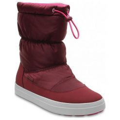 Crocs Śniegowce Lodgepoint Shiny Pullon W Garnet/Candy Pink 41,5. Różowe śniegowce i trapery damskie Crocs, z gumy. W wyprzedaży za 259.00 zł.