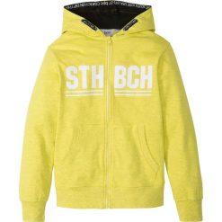 Bluza rozpinana z kapturem bonprix żółty melanż z nadrukiem. Bluzy dla chłopców marki Pulp. Za 59.99 zł.