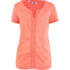 Bluzka bawełniana, krótki rękaw bonprix łososiowy. Brązowe bluzki damskie bonprix, z bawełny, z krótkim rękawem. Za 49.99 zł.