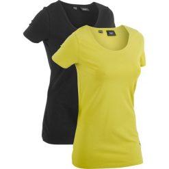 Długi t-shirt (2 szt.), krótki rękaw bonprix pistacjowy + czarny. Czarne t-shirty damskie bonprix. Za 49.98 zł.