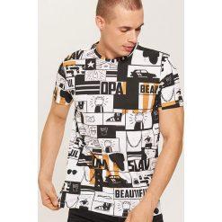 T-shirt z nadrukiem all over - Biały. Białe t-shirty męskie House, z nadrukiem. W wyprzedaży za 29.99 zł.