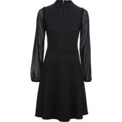 Sukienka z dżerseju z szyfonowymi rękawami bonprix czarny. Czarne sukienki damskie bonprix, z dżerseju. Za 129.99 zł.