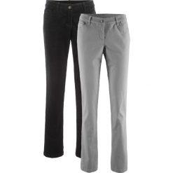 Spodnie sztruksowe i twillowe ze stretchem (2 pary) bonprix czarny + szary. Czarne spodnie materiałowe damskie bonprix, ze sztruksu. Za 149.98 zł.
