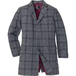 Krótki płaszcz z domieszką wełny bonprix szaro-czarny w kratę. Czarne płaszcze męskie bonprix, z wełny. Za 349.99 zł.