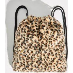 Plecak worek w panterkę - Brązowy. Brązowe plecaki damskie Sinsay, z motywem zwierzęcym. Za 49.99 zł.