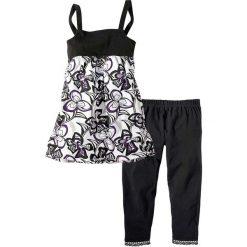 Sukienka + legginsy 3/4 (2 części) bonprix czarny - wzorzysty. Legginsy dla dziewczynek bonprix, na ramiączkach. Za 37.99 zł.