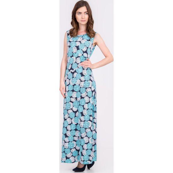 87fac2c1b9 Granatowa sukienka maxi w kwiaty QUIOSQUE - Sukienki damskie marki ...