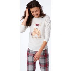 Etam - Bluzka piżamowa Odele. Szare koszule nocne damskie Etam, z nadrukiem, z bawełny. Za 99.90 zł.