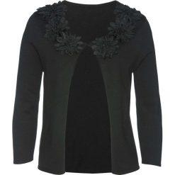 Sweter rozpinany z kwiatową aplikacją bonprix czarny. Czarne kardigany damskie bonprix, z aplikacjami. Za 129.99 zł.