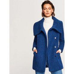 Płaszcz z wełną - Niebieski. Niebieskie płaszcze damskie Reserved, z wełny. W wyprzedaży za 149.99 zł.