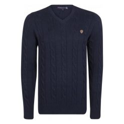 Giorgio Di Mare Sweter Męski M Ciemny Niebieski. Niebieskie swetry przez głowę męskie Giorgio di Mare, z bawełny. W wyprzedaży za 199.00 zł.