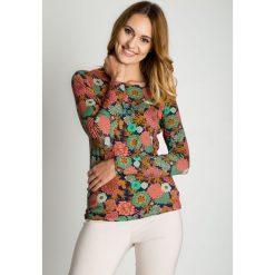 Bluzka w kwiaty z długim rękawem BIALCON. Czerwone bluzki damskie BIALCON, w kolorowe wzory, z wełny, z długim rękawem. Za 99.00 zł.