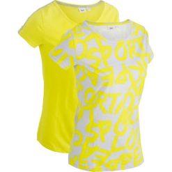 T-shirt bawełniany (2 szt.), krótki rękaw bonprix jasnoszary melanż - zielona limonka. T-shirty damskie marki DOMYOS. Za 32.99 zł.