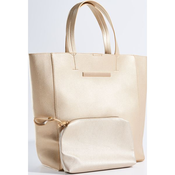0b92b5b870db1 Duża torba shopper z kosmetyczką - Złoty - Torebki shopper damskie ...