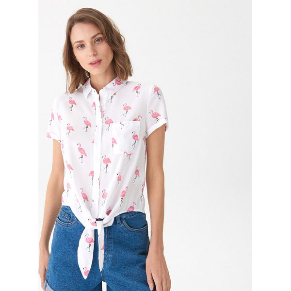 1fbd6d61eb3786 Wzorzysta koszula z wiązaniem u dołu - Kremowy - Koszule damskie ...