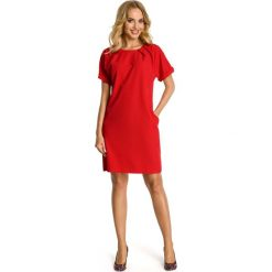 Czerwona Sukienka z Krótkim Reglanowym Rękawem. Czerwone sukienki damskie Molly.pl, wizytowe, z krótkim rękawem. Za 112.90 zł.