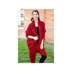 Bordowy asymetryczny sweter damski, jesienny sweter damski, długi elegancki sweter. Czerwone kardigany damskie Ekoszale. Za 189.00 zł.