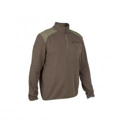 Sweter myśliwski 300 ze stójką. Brązowe swetry przez głowę męskie SOLOGNAC, z materiału, ze stójką. Za 59.99 zł.