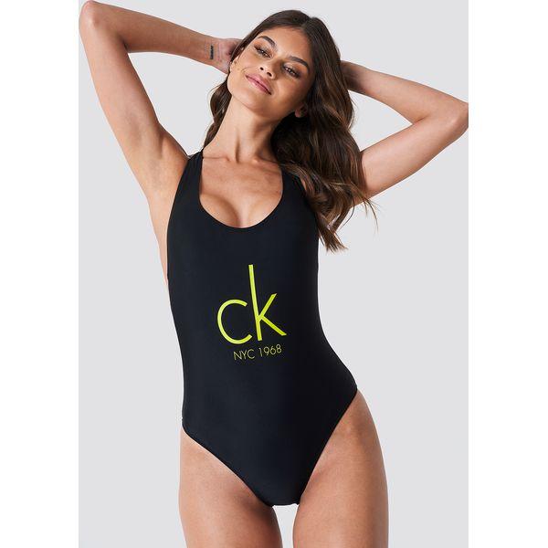 7ee458ac708c86 Calvin Klein Jednoczęściowy kostium z bokserskim tyłem - Black ...