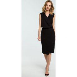 Sukienka z drapowaniem moe395. Czarne sukienki damskie MOE, biznesowe. Za 149.00 zł.