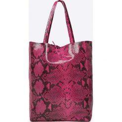 Answear - Torebka skórzana. Czerwone torebki shopper damskie ANSWEAR, z materiału. W wyprzedaży za 199.90 zł.