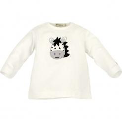 Koszulka w kolorze białym. Białe bluzki dla dziewczynek Bondi, z aplikacjami, z okrągłym kołnierzem, z długim rękawem. W wyprzedaży za 27.95 zł.
