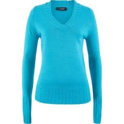 Sweter z dekoltem w serek bonprix turkusowy. Niebieskie swetry damskie bonprix, z materiału, z dekoltem w serek. Za 44.99 zł.