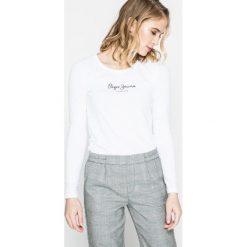 Pepe Jeans - Bluzka New Virginia. Szare bluzki damskie Pepe Jeans, z nadrukiem, z bawełny, casualowe, z okrągłym kołnierzem. W wyprzedaży za 89.90 zł.