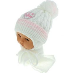 Czapka niemowlęca z szalikiem CZ+S 149A biała. Czapki dla dzieci marki Reserved. Za 39.76 zł.