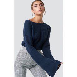 NA-KD Krótki sweter z dzianiny z długim rękawem - Blue,Navy. Niebieskie swetry damskie NA-KD, z dzianiny. Za 121.95 zł.