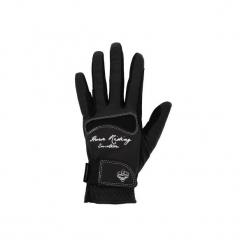 Rękawiczki jeździeckie Hexagirl damskie. Czarne rękawiczki damskie FOUGANZA, z elastanu. Za 59.99 zł.
