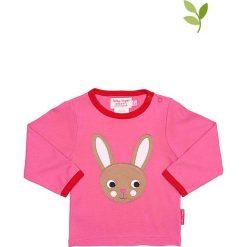 Koszulka w kolorze różowym. Czerwone bluzki dla dziewczynek Toby Tiger, z aplikacjami, z bawełny, z okrągłym kołnierzem, z długim rękawem. W wyprzedaży za 85.95 zł.
