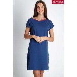 Granatowa prosta piżama koszula nocna QUIOSQUE. Piżamy damskie QUIOSQUE, z bawełny. W wyprzedaży za 59.99 zł.