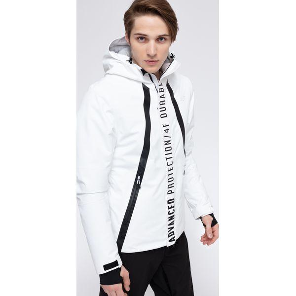 4559f00603e85 Kurtka narciarska męska KUMN160 - biały - 4F - Białe kurtki męskie marki 4f,  na jesień, m, z materiału, narciarskie, Dermizax. Za 749.99 zł.