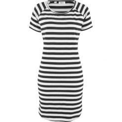 Sukienka shirtowa w paski bonprix czarno-biały w paski. Sukienki damskie bonprix, w paski. Za 32.99 zł.