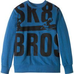 Bluza dresowa bonprix niebieski z nadrukiem. Bluzy dla chłopców bonprix, z nadrukiem, z dresówki, z długim rękawem. Za 37.99 zł.