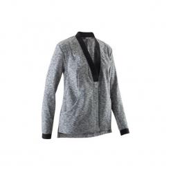 Bluza na zamek do jogi YOGA+ damska. Czarne bluzy damskie DOMYOS, z elastanu. W wyprzedaży za 69.99 zł.